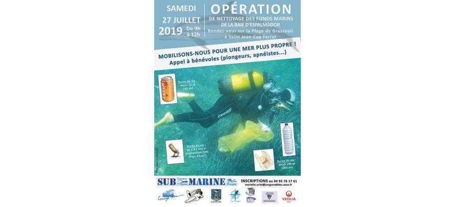 Opération de nettoyage de fonds marins à Saint-Jean-Cap-Ferrat